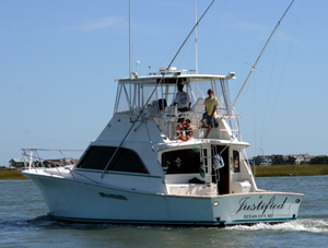 Striper Fishing charter boat